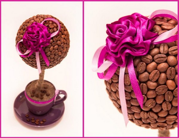 Топиарий из кофейных зерен — эффектный подарок своими руками. Фото с сайта vk.com