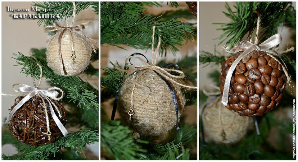 Новогодние шарики на ёлку своими руками